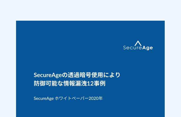 SecureAgeの透過暗号使用により 防御可能な情報漏洩12事例